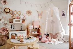 💕 SO DREAMY 💕 What a magical playroom has created! Our Olli Ella See Ya suitcase looking gorgeous in here 😍 Little Girls Playroom, Toddler Playroom, Toddler Rooms, Little Girl Rooms, Playroom Ideas, Kids Room Organization, Interiors Online, Shared Rooms, Kids Store