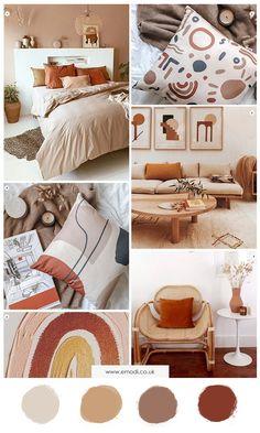 Living Room Orange, Bedroom Orange, Warm Colours Living Room, Living Room Brown, Orange Room Decor, Interior Design Living Room Warm, Home Interior, Room Ideas Bedroom, Home Decor Bedroom