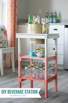 DIY BEVERAGE STATION: Including Tutorial for the OMBRE PAINT TECHNIQUE Step by Step Tutorial -  Love the ombre effect on this fun do it yourself beverage station project!