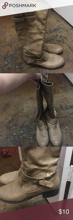 Worn size 9 tan boots These have a couple slight imperfections so I'm getting rid of them for super cheap just never wear them Forever 21 Shoes Heeled Boots