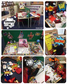Superhero HQ is busy! Super Hero Activities, Eyfs Activities, Preschool Themes, Superhero Writing, Superhero Classroom, Writing Area, Writing Table, Traction Man, Super Hero Day