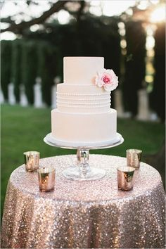 Gold glitter cake table with blush sequin linens make this wedding look so glam. Trendy Wedding, Gold Wedding, Wedding Bells, Wedding Table, Wedding Cakes, Dream Wedding, Wedding Day, Wedding Rings, Spring Wedding