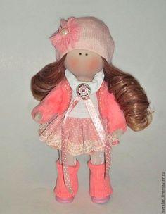 Купить Текстильная интерьерная кукла - комбинированный, кукла малышка, интерьерная кукла, куколка, малышка
