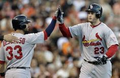 Game 1 of the NLCS- Freese gets congrats after hitting a 2 run homerun  10-14-12