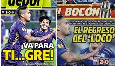 Juan Vargas anotó un gol con la Fiorentina en la Europa League y fue lo más destacado por la prensa deportiva nacional.
