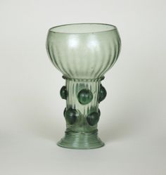 50E Roemer with Spherical Prunts, Smooth spherical prunts (blob of glass) are very rare. Provenance is Netherlands or Germany. C. 1650-1675