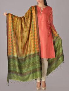 Chevron Stripe Tussar Silk Dupatta