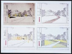 "Generator Project, White Oak, Florida, Development of the ""Friendly Barrier Concept""  Cedric Price (British, 1934–2003)    1978-80. .a: Crayon, ink and ink stamp on electrostatic print  .b: Color ink, ink, and ink stamp on electrostatic print  .c: Crayon on cut self-adhesive labels on electrostatic print, with crayon and ink stamp  .d: Color ink and ink stamp on electrostatic print, mounted on board, Each: 8 1/2 x 11 3/4"" (21.6 x 29.9 cm)."