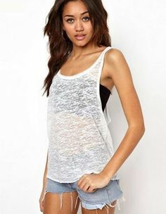 Racerback Sleeveless Sexy Tank Top Women Loose Vest Plus Size T Shirt  Fitness Box Pleat Skirt 86cd54e8032