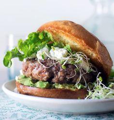 Lamb burger with goat cheese and avocado.