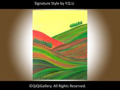 Abstract Landscape Painting Original Modern Acrylic by QiQiGallery, $75.00