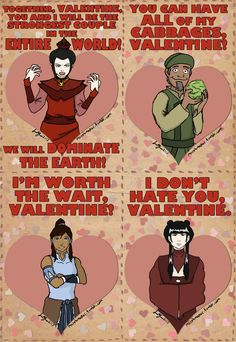 Avatar: The Last Airbender Valentine's Day Cards featuring Azula, the Cabbage Merchant, Korra (from Legend of Korra), and Mai.