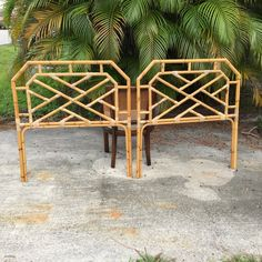 Pair of Rattan Chippendale Twin Headboards Palm Beach by TheLanai