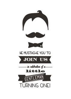 Mustache Birthday Printable Invitation Shower Baby Announcement. $20.00, via Etsy.