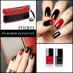 RABEANCO Mara Handbag-inspired Nail Art using Chanel Dragon and Black Satin.