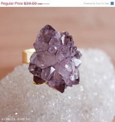 SALE Gold Purple Amethyst Rose Statement Ring  by OhKuol on Etsy, $24.65