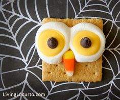 Graham crackers, candy corn, icing,  chocolate chips make this cute owl!