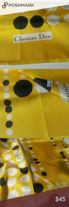 "Vintage Long Christian Dior Silk Scarf A vintage Christian Dior Silk scarf. Done in a background of yellow, with navy blue and white polka dots, and light fringe ends. Approximately 54.00"" long ? 19.50"" wide. Great condition for age. Christian Dior Accessories Scarves & Wraps"