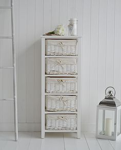 Newport tall storage basket unit with 5 drawers. Bathroom furniture and storage from The White Lighthouse www.thewhitelighthousefurniture.co.uk