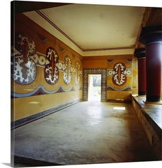 The Stream of Time: The Minoans: The Labyrinth - Picture of the Hall of the Shields fresco at Knossos Bronze Age Civilization, Minoan Art, Snake Goddess, Mycenaean, Creta, Throne Room, Connect The Dots, Grand Staircase, Ancient Greek