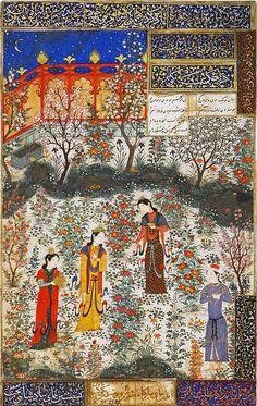 La princesa china Humayun recibe al príncipe persa Humay en su jardín.