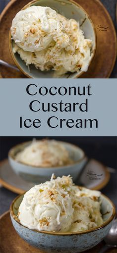 Coconut Custard Ice Cream - rich and creamy, like my favorite pie in an ice cream by maryann maltby Frozen Custard Recipes, Custard Ice Cream Recipe, Keto Ice Cream, Healthy Ice Cream, Homemade Ice Cream, Coconut Custard Pie, Ice Cream Pies, Cream Cream, Coconut Cream