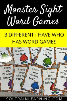 Students love playing I Have Who Has games and this one has 3 different games with 100 sight words included. The students also love these monster cards.  #soltrainlearning#sightwords#wordgames#monsters#halloweenactivities#elementaryactivities#classroomgames#classroomactivities