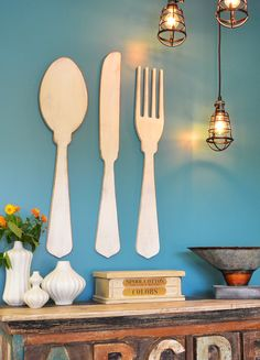 Create a culinary focal point in your kitchen or dining room with our oversized utensils. These gorgeous wooden utensils make a statement and can be hung vertically or horizontally. Our utensils can be finished in a variety of styles; from simple one color paint or stains to multi-layered faux finishes.