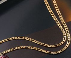 Gold Chains For Men Yellow Gold Figaro Chain mm Width Inch Long Grams) by RG Wedding Jewellery Designs, Wedding Jewelry, Gold Jewelry, Jewelry Design, Unique Jewelry, Chain Jewelry, Necklace Chain, Jewelry Ideas, Jewelery