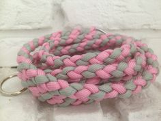 Paracord 550 Dog leash pink-grey from Paracanis - handcrafts for pets and humans by DaWanda.com