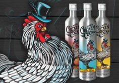 The standalone packaging component of our Chicken Cock Whiskey branding project includes a detailed illustration of our chicken mascot as well as a turn-of-the-century lettering style that brings to mind the legacy of this heritage brand of whiskey. The product roll out included three variations – Southern Spiced, Root Beer and Cinnamon – each of which includes a color and banner change on the unique aluminum bottle's packaging. More at www.alysondesign.com