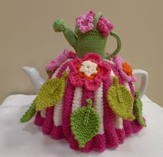 Garden Party Tea Cosy Knitting Crochet pattern by Jenny Occleshaw Knitted Tea Cosies, Knitted Bunnies, Knitted Dolls, Tea Cosy Knitting Pattern, Knitting Patterns, Crochet Patterns, Scarf Patterns, Crochet Fall, Knit Crochet