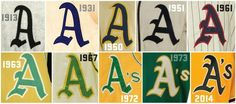 History of Athletics' logos. From Todd Radom.