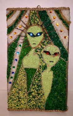 Mid-Century Gravel Art Aliens