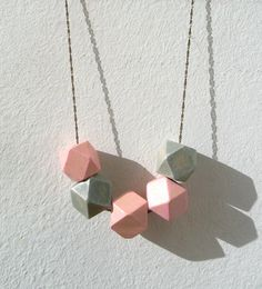 Wood Hedron Bead Geometric Necklace by jujujust on Etsy