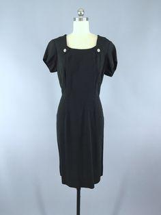Vintage 1940s Dress / Black Silk Rhinestone Buttons