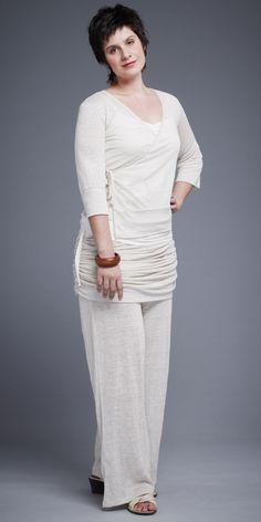 Cache-Coeur Haori beige en tricot 100% lin