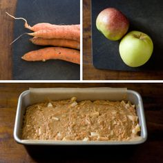 apple-carrot bread with cream cheese frosting.