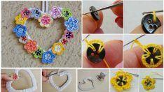 Los motivos florales de la puerta con el ornamento del corazón que está realizando - Making formal del adorno floral
