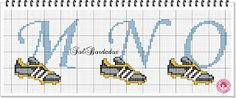 Soccer cleats- would be good for embroidery or cross stitch Baby Patterns, Stitch Patterns, Cross Stitch Letters, Baby Footprints, Stitch 2, Alphabet And Numbers, Needle And Thread, Cross Stitching, Couture