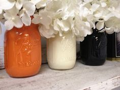 Hand-painted (Set of 3) Orange, White, and Black Mason Jars. Perfect for Gifts, Home Decorations, and Weddings, Centerpieces, and much much
