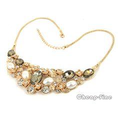 Vintage Gold Flower Pearls Big Faceted Acryl Choker Bib Link Statement Necklace | eBay