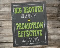 Big Brother In Training - Printable Chalkboard Photo Prop / Pregnancy Announcement