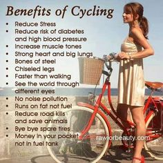 Benefits of bicycling. I lost a lot of weight by riding my bicycle every day, and I kept it off. More weight loss tips: http://orderplexusonline.com/