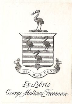 Armoral bookplate of George Mallows Freeman (1852 – 1934), barrister.
