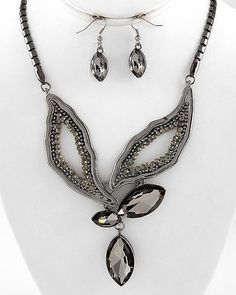Runway Flair Black Contemporary Design Crystal Statement Bejeweled Necklace Set