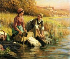 women washing clothes ... Daniel Ridgway Knight.
