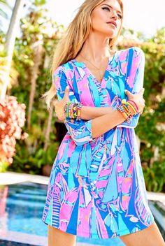 c0919e31375 Lilly Pulitzer Ali V-Neck T-Shirt Dress Swimwear