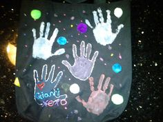 We made this bag for grandma, we used finger paint, puff paint, glue gun, and pom poms. Grandma loved it ... Uploaded with Pinterest Android app. Get it here: http://bit.ly/w38r4m