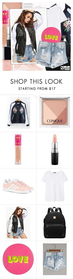 """Light Blue Denim Shorts"" by lunaarmani ❤ liked on Polyvore featuring WithChic, Clinique, Jeffree Star, MAC Cosmetics, adidas Originals, Violeta by Mango and Lisa Perry"